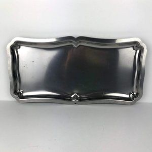 Vintage Stainless Steel Scroll Edge Serving Tray